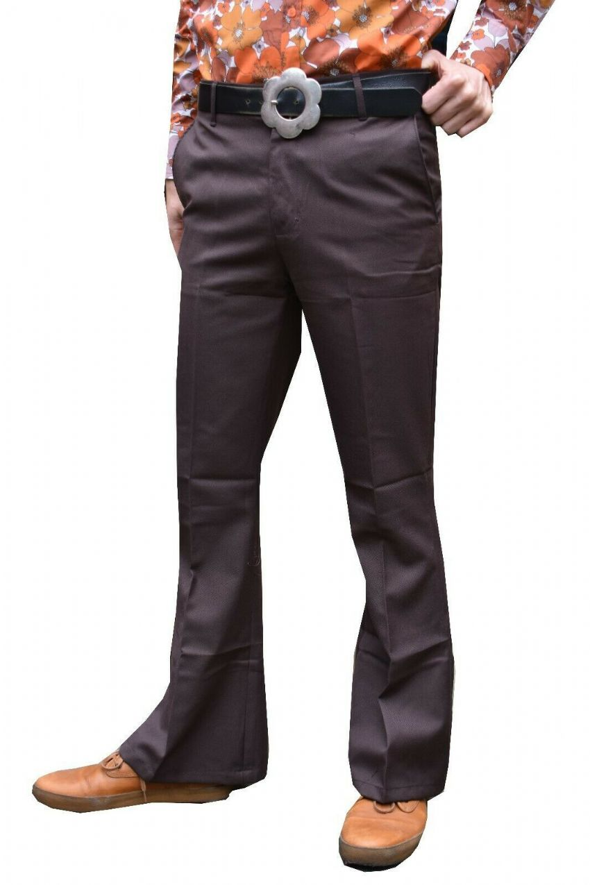 Classic Dress Flares - Men's Bell Bottoms Sta Pressed High Rise Flared Pants - Brown Trousers